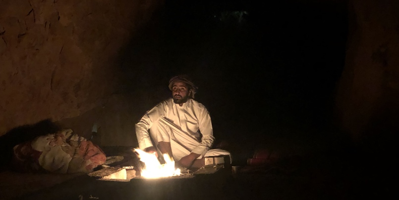 Sitting around Bonfire in Wadi Rum