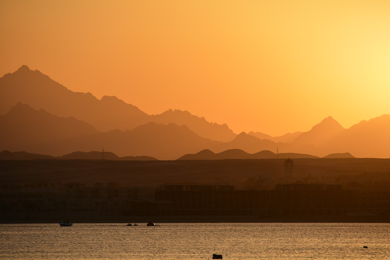 A view of Egypt in the sunset