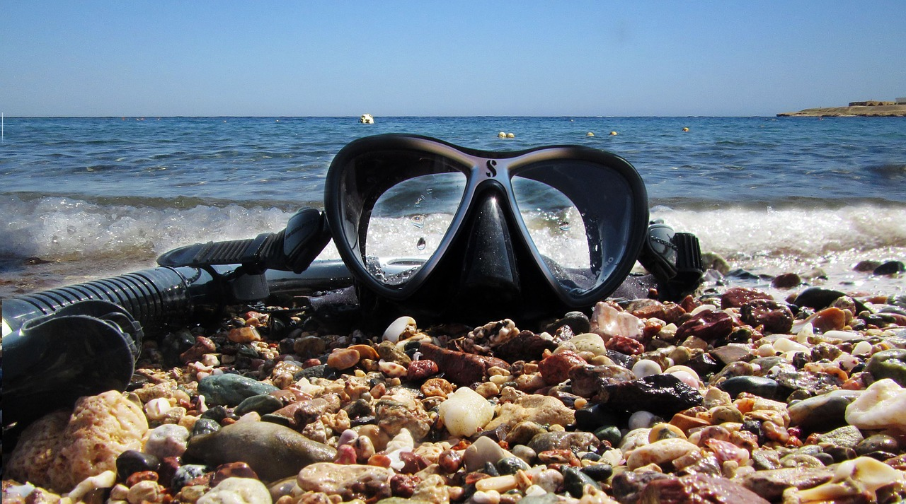 Snorkeling in Aqaba in summer in Jordan