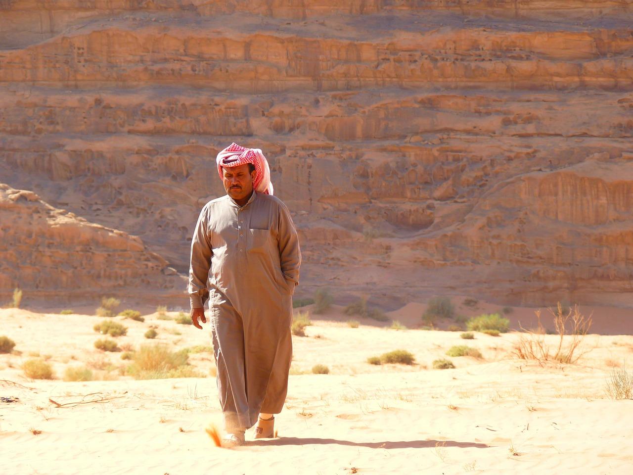 A Bedouin wandering in the Wadi Rum desert
